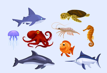 set of stylized cartoon underwater animals