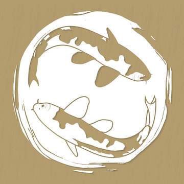 Two koi carps laser or plotter cut vector illustration for stickers, print, stencil manufacturing and engraving