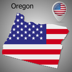 Map of the State of Oregon and American flag illustration. Map pointer with American flag