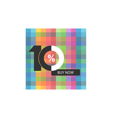 Ten symbol, years, anniversary logo, discount