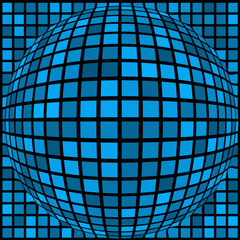 Ball of blue squares of different sizes. Black background.