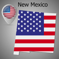 New Mexico State map with US flag inside and Map pointer with American flag.