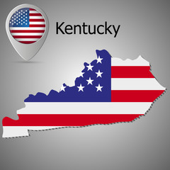 Kentucky State map with US flag inside and Map pointer with American flag.