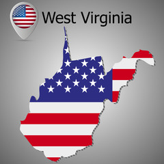 West Virginia State map with US flag inside and Map pointer with American flag.