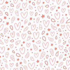 Pink doodle hearts seamless pattern