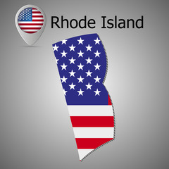 Rhode Island State map with US flag inside and Map pointer with American flag.