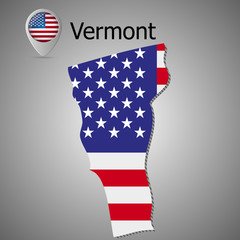 Vector map with US flag inside of Vermont.Map pointer with American flag.
