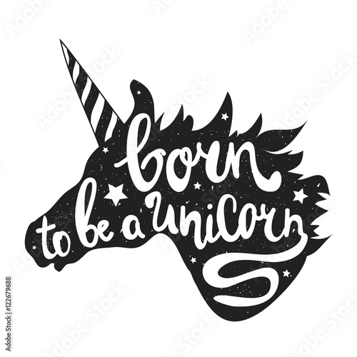 vector illustration with unicorn head and lettering text born to be a unicorn stock image. Black Bedroom Furniture Sets. Home Design Ideas