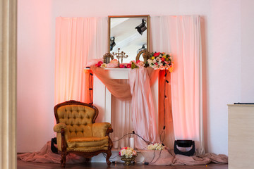interior in pink