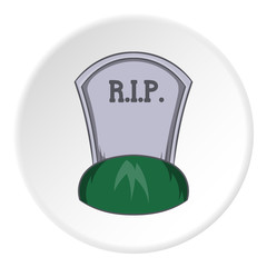 Grave rip icon in cartoon style isolated on white circle background. Death symbol vector illustration