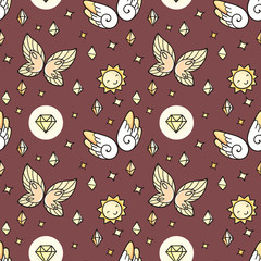 Seamless pattern with butterflies and suns and gems.