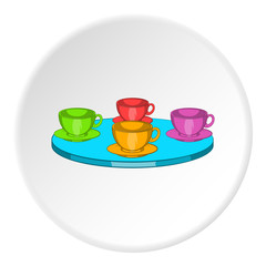Four mugs on table icon in cartoon style isolated on white circle background. Tea time symbol vector illustration