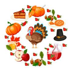Vector Illustration of a Happy Thanksgiving Celebration Design.