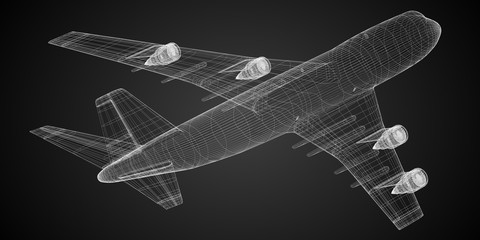 3D jet plane - illustration
