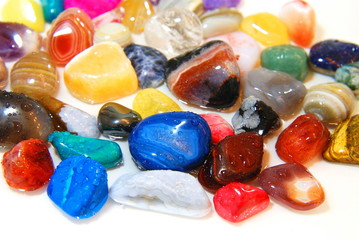 Close up color stones on white background