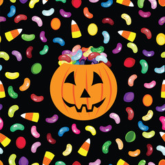 Trick or treat jack'o lantern halloween vector card.