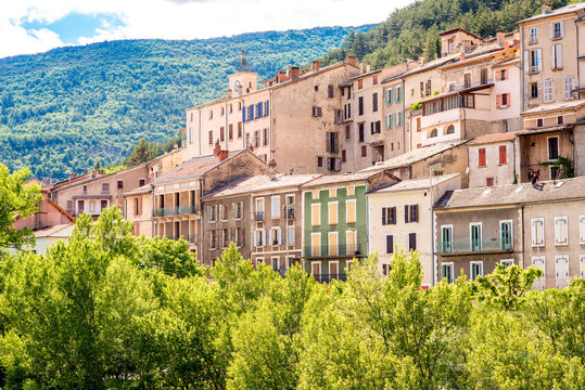 View on the old buildings in Sisteron village in Provence region in France