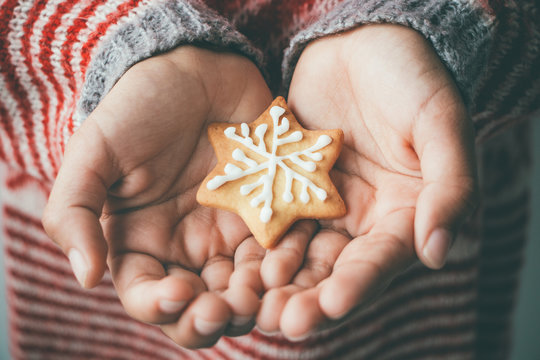 Xmas cookie in child hands
