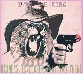 Psychopath, lion the king - An hand drawn vector