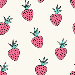 Seamless pattern with hand drawn strawberries.