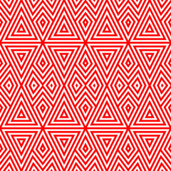 Seamless pattern with symmetric geometric ornament. Striped red abstract on white background. Repeated triangles and rhombuses wallpaper. Vector illustration