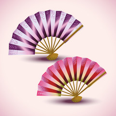 Set of colorful Japanese fans isolated