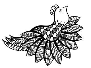 Vector ornamental funny bird