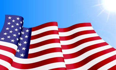 Waving USA flag on azure sky background. Can be used for logos, business identity, print products, page and web decor, signs, placards, backgrounds or other design. Vector illustration.