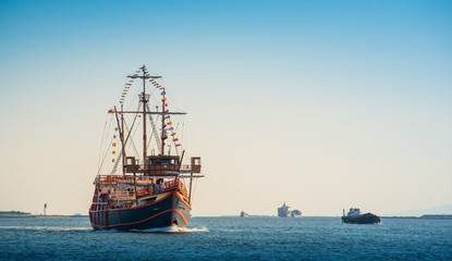 Santa Maria replica cruise in Osaka Bay