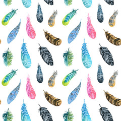 Seamless boho pattern with watercolor feathers