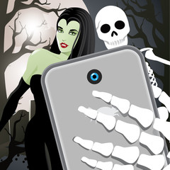 Halloween selfie with vampiress and skeleton in a graveyard.