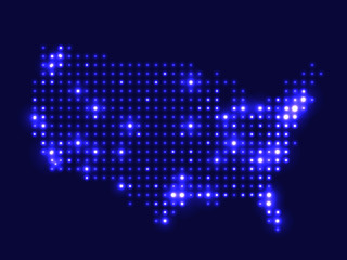 Dotted night map USA