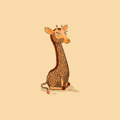 Emoji character cartoon Giraffe squints and looks suspiciously