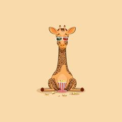 Emoji character cartoon Giraffe chewing popcorn, watching movie