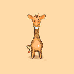 Emoji character cartoon Giraffe with a huge smile