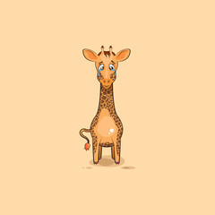 Emoji character cartoon sad and frustrated Giraffe crying