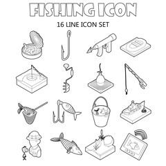 Fishing icons set in outline style. Fisher equipment set collection vector illustration