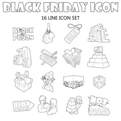 Black Friday icons set in outline style. Shopping elements and badges set collection vector illustration