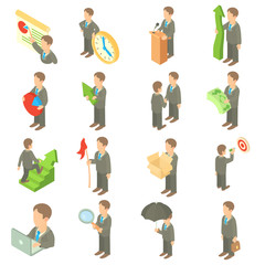 Business icons set in cartoon style. Office worker set collection vector illustration.