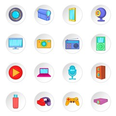 Audio and video icons set in cartoon style. Multimedia set collection vector illustration