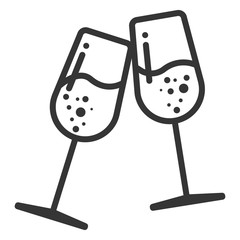 Merry christmas wine glasses simple icon