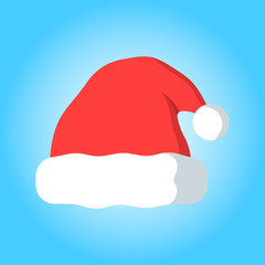 Merry christmas santa's hat simple color flat icon
