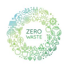 Vector logo design template - zero waste concept