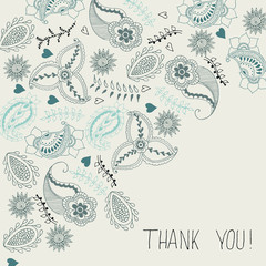 Greeting card thank you with paisley hand drawn elements