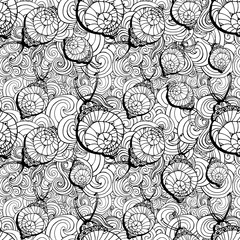Doodle style fun lacy snail, seamless animal and patterm For coloring book page design