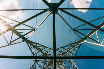 Power lines over stanchion