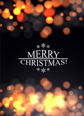 Chrismas greeting card with bokeh lights