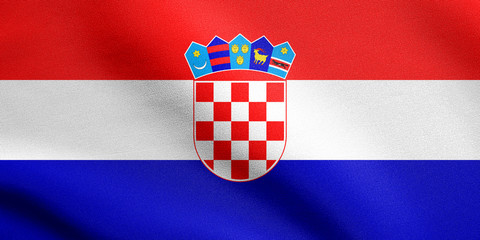 Flag of Croatia waving with fabric texture