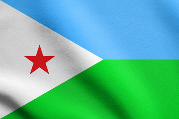 Flag of Djibouti waving with fabric texture