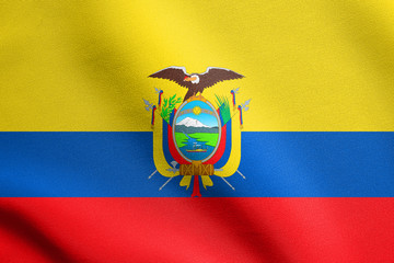 Flag of Ecuador waving with fabric texture